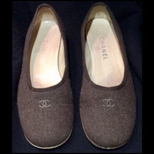 Chanel Brown Fabric Flats